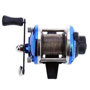 Mini Main droite tambour Moulinet de pêche Baitcasting Enrouleur de fil de moulinet de pêche avec ligne de 0,2mm 50m, bleu