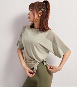 2020 T-shirt de sport féminin à manches courtes en maille filet pour les loisirs, les épaules et les épaules FR:46 xl