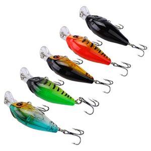 5 Pcs/Set Fishing Leurres la Vie-comme la Pêche Dure Appâts 3D Pêche Yeux Crankbait Set de Poissons d'eau de mer Leurrer avec des Crochets pour la Truite Basse d'eau Douce et d'eau Salée (Type 2)
