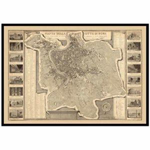 Carte de reproduction vintage de Rome 1829. Dos en lin, carte pliée.