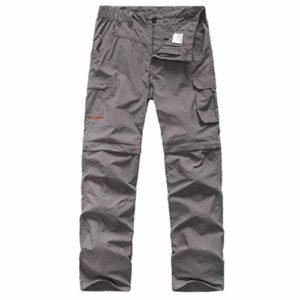 emansmoer Hommes Outdoor Séchage Rapide Wicking Détachable Zip Off Jambe Pantalon Léger Voyage Camping Pêche Trousers (XL, Gris)