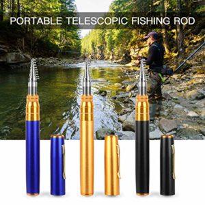 Goliraya Telescopic Pocket Pen Canne à pêche Mini Fishing Pole Accessoires de pêche