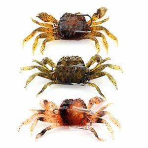 GOOTRADES Lot de 3 Appâts Artificiels Simulés en Forme de Crabe, Leurres de Pêche Souple avec Crochet pour Attraper, Couleur Aléatoire