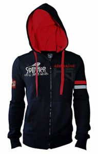 Hot Spot Design Sweatshirt à Capuche Spinning Adrenaline, Fermeture éclair intégrale, Noir