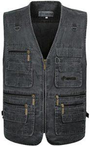 JIINN Hommes Photographie en Plein Air Gilet Multiples Poches Les Maille sont Waistcoat Coton Zipper T-Shirt sans Manches Veste (EU Medium, P08FR Gris)