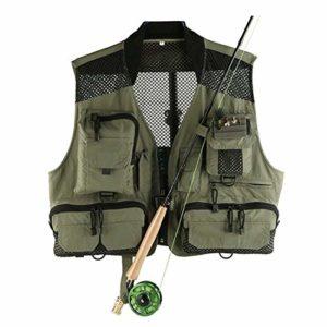 LiShihuan Gilet de pêche à la mouche Taille réglable Pour matériel et matériel Comprend poche à eau et pochette étanche pour téléphone, Vert