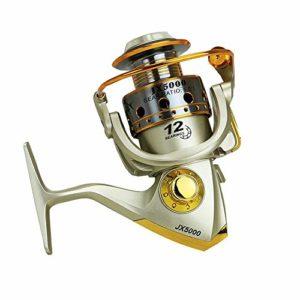 LOYFUN Moulinet de pêche durable avec poignée en bois et métal Ratio de vitesse 5,5:1, 1000
