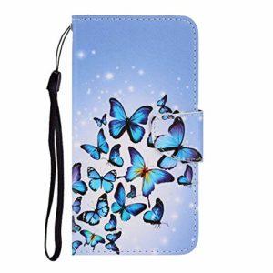 Nadoli Coque Case Cover Huawei P40,Bleu Papillon Modèle Magnétique Housse à Rabat Portefeuille Étui Anti Choc de Cover avec La Stand et Fente