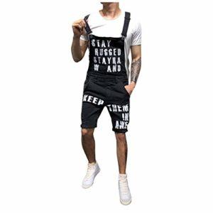 Pantalon à Poches Salopette Bretelles Homme Jeans Dechiré Short De Travail en Denim Skinny Courte Regular Slim Biker Hip Hop Rue La Mode Ete Outdoor Casual Cargo LâChe Court(Noir 1,S)