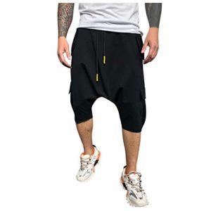 Pantalon Loose Slim Fit Solid Color Causal Pocket Longueur Pantalons RéTro DéContractéS pour Hommes Pantacourt Confort LâChe Sarouel Taille Casual 3/4 Shorts Bermudas Printemps éTé(Noir,XL)
