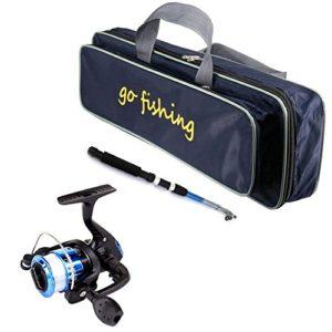 pegtopone Canne à pêche télescopique légère et Portable avec Moulinet pour débutants