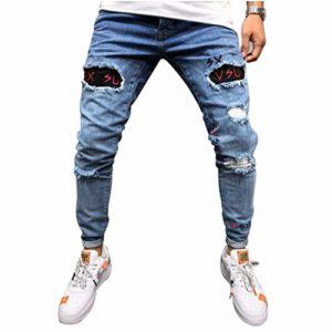 SCHOLIEBEN Pantalon en Denim à Trou Droit Coton pour Hommes Jeans Jean De Travail Bootcut Bleu DéLavé Homme Coupe Ample Grandes Tailles(Light Blue,XXL)