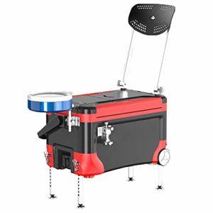 Seau Poissons Pêche Boîte avec Chaise et lumière de Nuit multifonctionnelle pêche Seau for réservoir de Plein air Pêche Léger et Durable (Couleur : Red, Size : One Size)