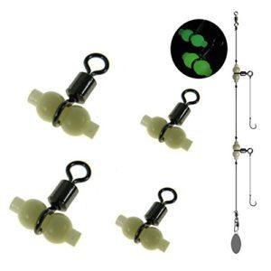THKFISH Connecteur croisé de 3 manières, 50 Pcs #L Pêche Triple Rouleaux Pivots Avec Lumineux Glow Perles Gourd Forme Split Pivots Pêche Connecteur