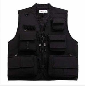 Uguax Gilet de pêche léger à plusieurs poches pour homme – Noir – XL