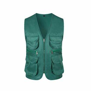 Uguax Gilet de pêche pour homme avec poches multiples pour la pêche, la chasse, la randonnée, les voyages, la photographie – Vert – L