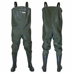 Wathose Gr 41-47 Pantalon de pêche avec bottes imperméables pour homme Taille unique vert olive