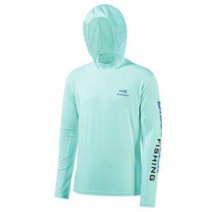 Bassdash Chemise de pêche à capuche UPF 50 + protection UV pour homme L Vert écume de mer/logo bleu vif.