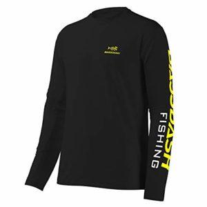Bassdash T-shirt de pêche à manches longues pour homme Protection UV UPF 50 + M Logo noir/jaune.
