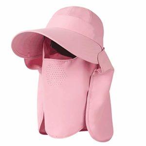 Chapeau de Soleil Femme Eté Couverture Face Cou Sunscreen UV Voyage Extérieur 62cm ZHAOSHUNLI (Color : Peach Powder)
