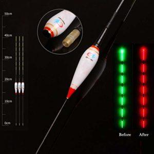 Chirsemey Flotteur Lumineux De Pêche De Nuit Mené Lumière Intelligente Rappelant Automatiquement Le Flotteur De Pêche avec Batterie De Bouton, 3 PCS