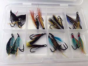 Double Wet Mouches pour mer et Petit Saumon Lot de Seize Taille 8 pour pêche à la Truite de mer – Lot # 324