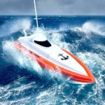 DT Bateau Telecommandé Jouet High Speed RC Racing Bateau Interrupteur du capteur d'eau,Hors-Bord télécommandé quadridirectionnel,Super Batterie Double Moteur,15-20 km/h