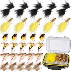 Ertisa truite Pêche à la mouche mouches Leurres, Lot de 30 Insecte Voler appâts de pêche Lure Leurres, saumon, truite, truite arc-en-ciel, ensemble de leurres de pêche à la mouche