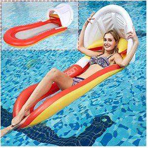 Flotteur de piscine en PVC, matelas gonflable de plage, chaise de sport gonflable, auvent, bleu WUTAO1, Orange