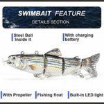Glomixs Lure de pêche électrique 4 segments Swimbait USB rechargeable Artificial Multi Jointed Segment 3D Lifelike Hard Bait Treble Hooks Sinking Lure for Bass Trout Perch