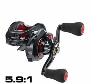 HUIJUNWENTI 300 Low Profile Baitcasting Reel Max 15kg Drag 8 + 1 Roulements Cadre en Aluminium d'eau Douce d'eau de mer Moulinet (Color : Black Double Handle, Size : Right Hand)