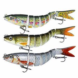 larruping Leurres de pêche, appâts artificiels à articulations Multiples Topwater Life-Like réalistes Swimbait Attraits durs avec Crochets Mustad