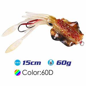 LMEIQUN, 15cm / 60g UV Glow Pêche Leurre Souple Poulpe Calamar Pesca Mar Pêche en Mer Wobbler Appât Squid Jigs Leurres De Pêche Leurre De Silicone (Color : SQ M 60D)