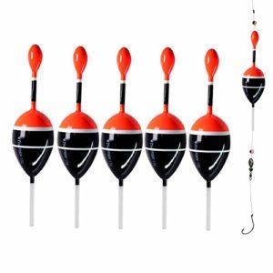 Lot de 5 flotteurs pour pêche en eau salée et en eau douce – 5-14 g – Pour crapet, perche, truite, 5 pieces black, Flotage 0.5oz 2″x5.28″