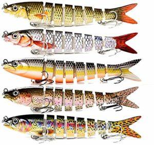 Lot de 5 leurres de pêche Wobbler Fishing Lure Spinner Leurre dur Appâts de pêche Swimbait Crankbaits Cuillères Set Bass truite brochet perche