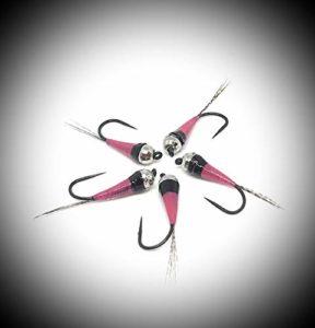 Maximum clini: perdigones Pink & Black, Imitation de Nymphe d'éphémère, en 9artificielles Trois pour Mesure, construite sur hameçons Barbless cecoslovacchi, Conforme au règlement FIPS Mouche