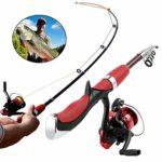 MKOO Mini Canne à pêche et Moulinet Portable télescopique pour Enfants et Adultes (Rouge)