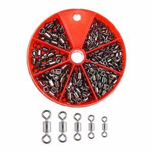 OTOTEC 300 Pcs Pêche Pivot Baril Kit D'attirail avec Portable Organisateur Boîte Rouler Cuivre avec Noir Nickel Crochet Ligne Connecteur Accessoires