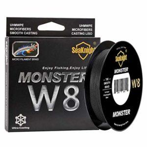 SeaKnight Monster W8 Fil de pêche tressé 8 brins 150 m Super Lisse PE tressé multifilament pour pêche en mer 6,8-45,4 kg, Homme, Noir, 1.0#:20LB/Diam:0.16mm/164Yds/150M