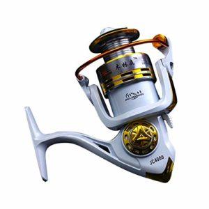YJIU Moulinet de pêche 12 + 1 roulements gauche et droite Poignée interchangeable pour pêche en eau douce avec double système de freinage, Métal, 2000