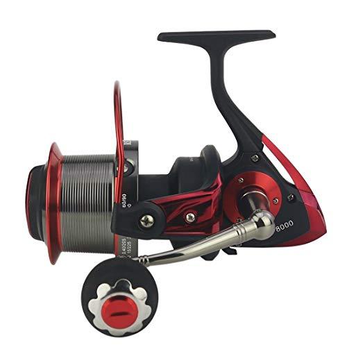 YJIU Moulinet de pêche avec système de freinage à double frein 13 + 1 roulements gauche et droite Poignée interchangeable pour pêche en eau douce Ratio 4.1 : 1, Métal, 8000