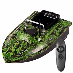 ZJRA Bateau à appâts de pêche Intelligent, Lampe de Poisson leurre, télécommande 500M, Outil de pêche assisté par Charge 1.5KG, Batterie Grande capacité/Couleur Camouflage
