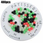 400 pièces Perles de pêche, Perles d'espacement Lumineuses de pêche sur Roche mélange de Couleurs leurre Accessoire d'appât Souple(12 mm)