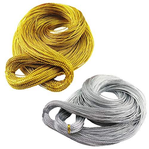 Artibetter Metallic Cord Jewelry String Twine Twist Cravates Label Cord DIY Craft Tinsel String Prix Tag Ligne Suspendue (Or + Argent) 2Bundles