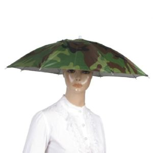 Beach Golf Fishing Army Green Hand Free Headwear Umbrella Hat 58cm Dia