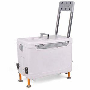 Boîte de pêche multifonctionnelle, Équipement Complet Four Angle de Levage mer pêche Boîte pêche Seau avec Chaise et Veilleuse (Color : White, Size : One Size)
