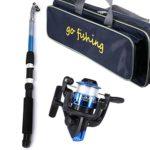 Canne à pêche pour enfant – Kit de canne à pêche télescopique portable et rouleau Combo – Idéal pour les débutants et les enfants Set de moulinets en plastique + sac pour appareil de pêche.