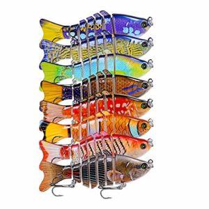CHSEEO 8Pc 12.7cm/17.6g Leurres de Pêche Multi Articulé Bionic Leurre Vivant Multisegements Durs Appât de Pêche Crankbait Dur Swimbait pour l'eau de Mer et l'eau Douce #7