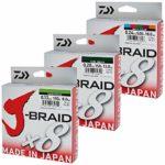 Daiwa J-Braid 8 Braid 0.16mm, 9.0kg / 20.0lbs, 300m vert foncé, ligne de pêche tressée ronde