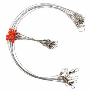 Jshanmei Bas de ligne de pêche en acier inoxydable haute résistance avec perle pivotante, 1RD., 24pcs